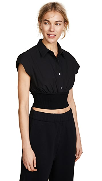 T by Alexander Wang Short Sleeve Button Down with Rib Detail