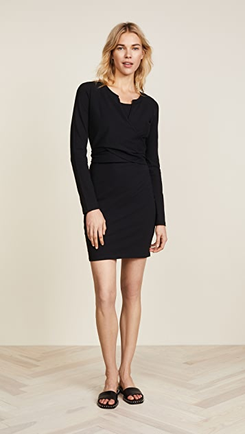 T by Alexander Wang Long Sleeve Dress with Front Tie