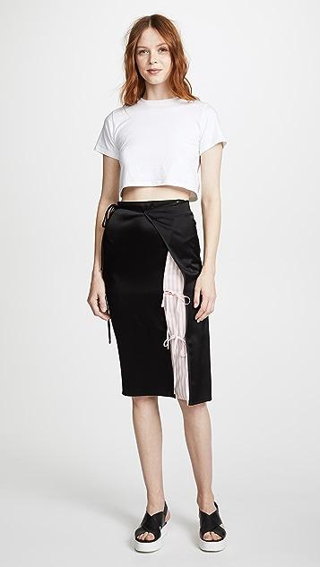 T by Alexander Wang Heavy Draped Satin Skirt