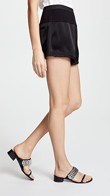 T by Alexander Wang Heavy Draped Satin Shorts