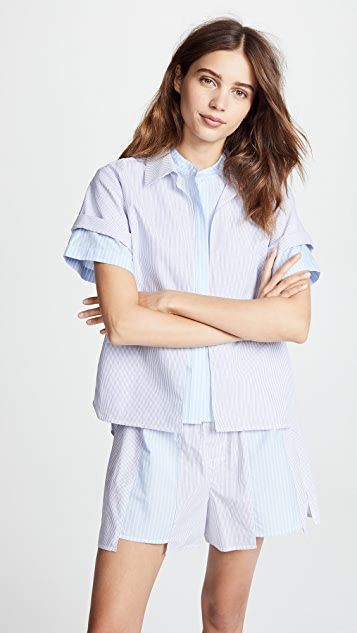 T by Alexander Wang Combo Striped Shirting Layered Top