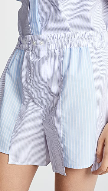 T by Alexander Wang Combo Striped Shirting Boxer Shorts