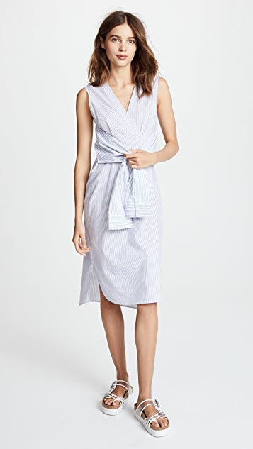 7f10a6bb1299 alexanderwang.t Combo Striped Shirting Tie Front Midi Dress