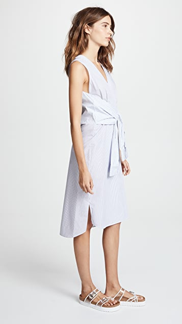 T by Alexander Wang Combo Striped Shirting Tie Front Midi Dress