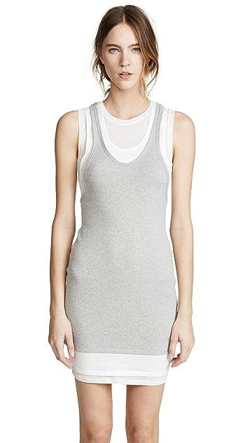 T by Alexander Wang Layered Mixed Media Tank Dress