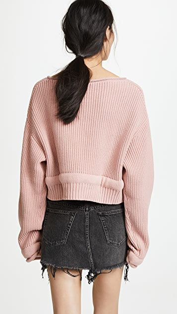 Chunky Trim Wide Neck Pullover