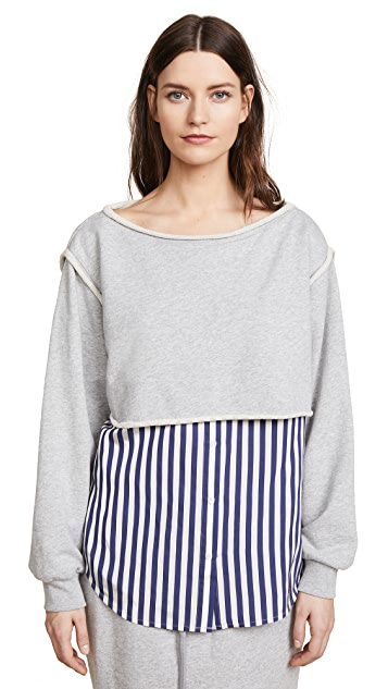 T by Alexander Wang Combo Boat Neck Pullover