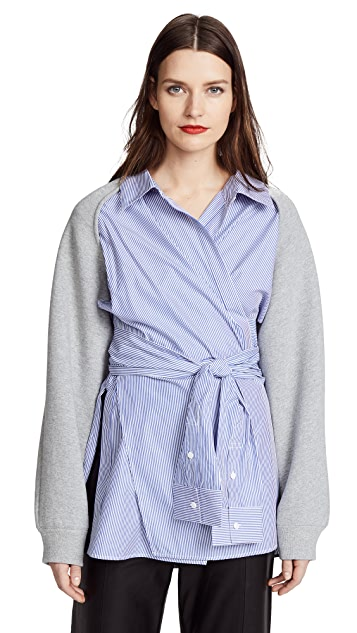 T by Alexander Wang Dense Fleece with Poplin Combo Wrap Shirt