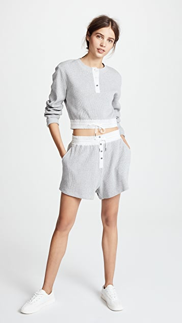 T by Alexander Wang Heavy Waffle Knit Gym Shorts