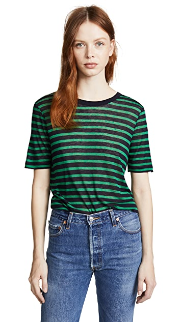 T by Alexander Wang Striped Slub Jersey Classic Tee