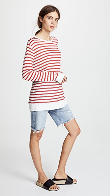 T by Alexander Wang Striped Slub Classic Long Sleeve Tee