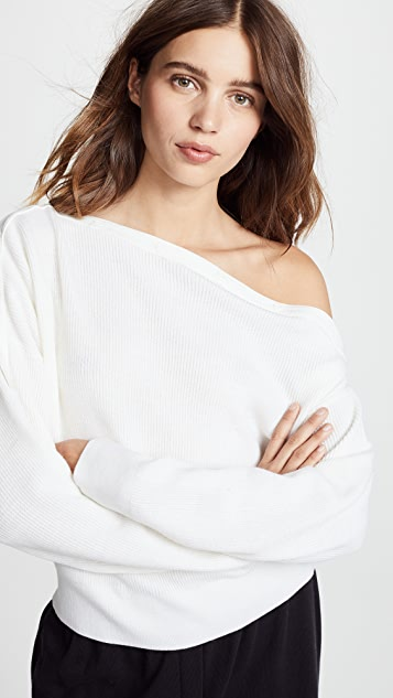 T by Alexander Wang Snap Detail Off Shoulder Crop Sweater