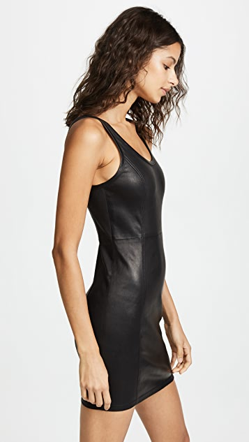 T by Alexander Wang Stretch Leather Sheath Dress