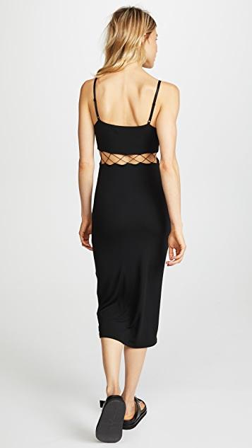 T by Alexander Wang Stretch Jersey Crisscross Cutout Fitted Dress