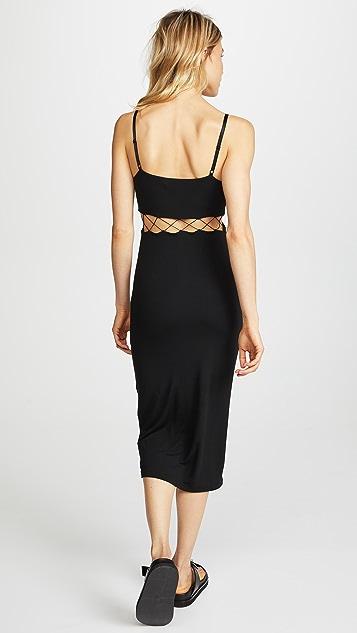 alexanderwang.t Stretch Jersey Crisscross Cutout Fitted Dress