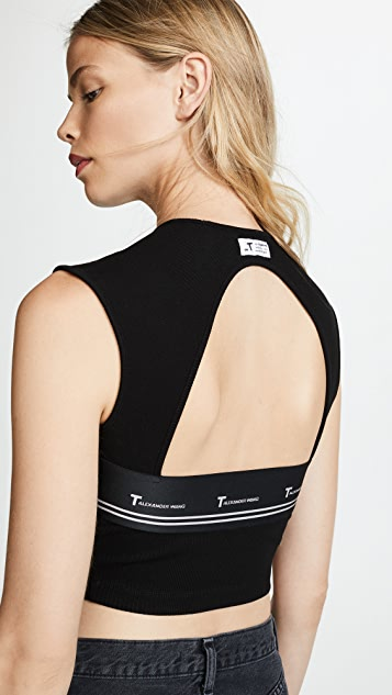 T by Alexander Wang Compact Cutout Top with Logo Elastic