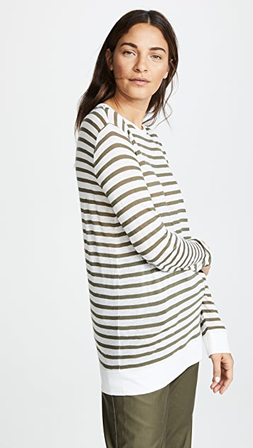 T by Alexander Wang Striped Slub Jersey L / S Tee