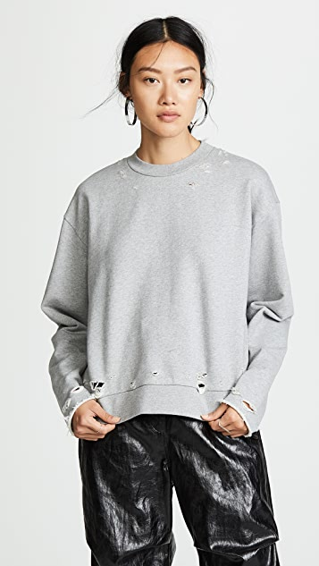 Dry French Terry Distressed Sweatshirt by T By Alexander Wang