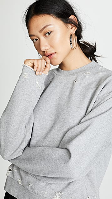 T by Alexander Wang Dry French Terry Distressed Sweatshirt