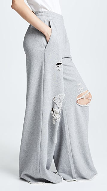 T by Alexander Wang Dry Distressed Wide Leg Pants