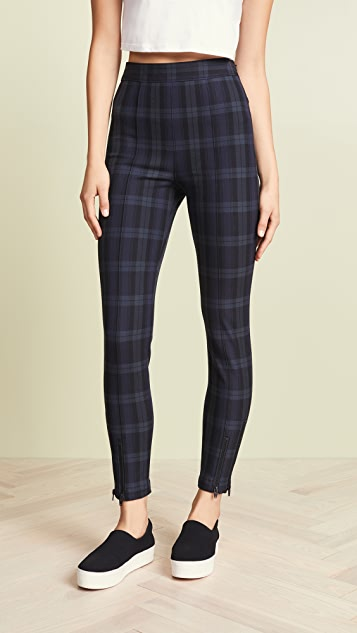 T by Alexander Wang Stretch Plaid Fitted Leggings