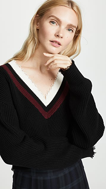 T by Alexander Wang Hybrid Meets Varsity Twist Front Sweater