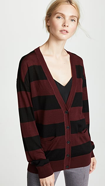 T by Alexander Wang Wash & Go Cardigan with Rugby Stripe