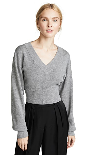 T by Alexander Wang Twist Back Cropped Sweater