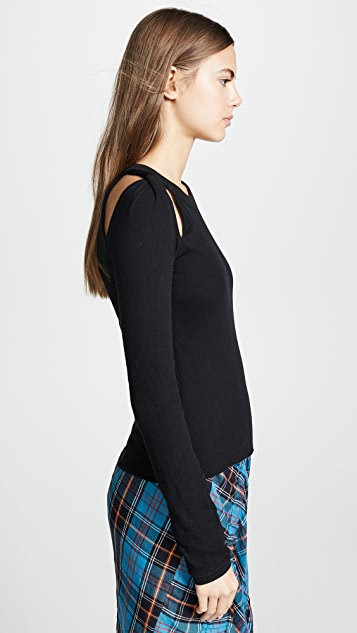alexanderwang.t Bodycon Twisted Shoulder Sweater
