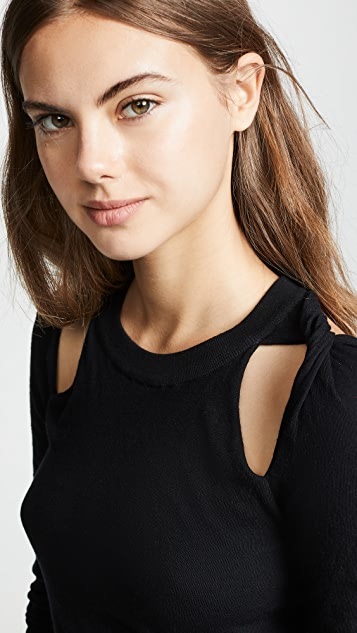 T by Alexander Wang Bodycon Twisted Shoulder Sweater