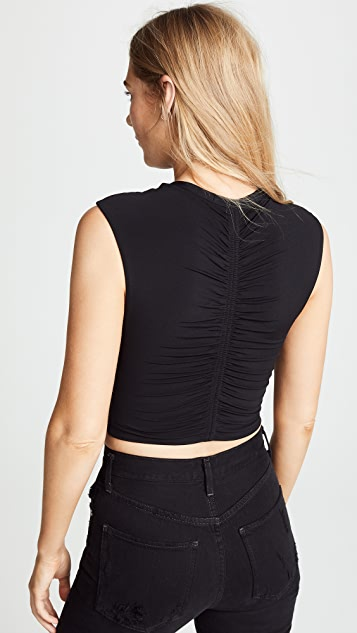 alexanderwang.t Cropped Jersey Top with Ruching Detail