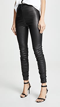 Stretch Leather Pants with Ruching Detail