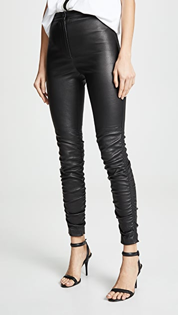 ca588d4ced88 alexanderwang.t Stretch Leather Pants with Ruching Detail