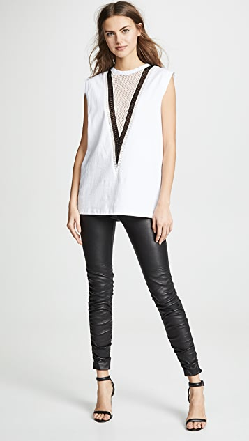 alexanderwang.t Stretch Leather Pants with Ruching Detail