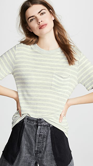 Alexanderwang T Wide Striped Pocket Tee
