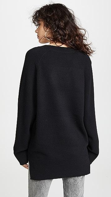alexanderwang.t Классический свитер-туника с длинными рукавами и глубоким V-образным вырезом
