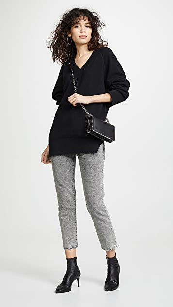 alexanderwang.t Classic Long Sleeve Deep V Tunic Sweater