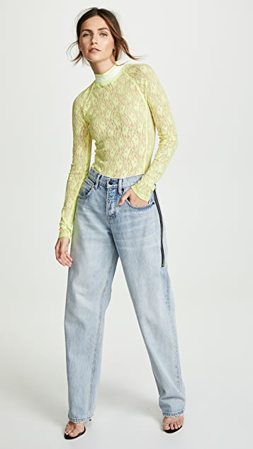 alexanderwang.t Stretch Lace Long Sleeve Bodysuit