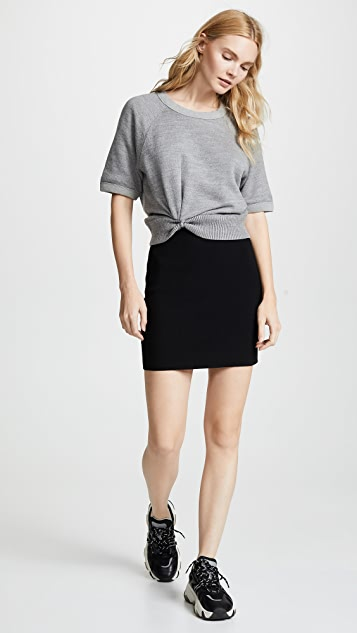 alexanderwang.t Double Layered Short Sleeve Pullover with Twist Detail