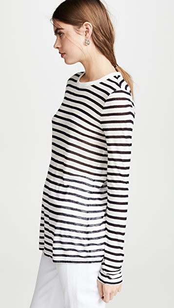 alexanderwang.t Classic Striped Slub Jersey Long Sleeve Tee