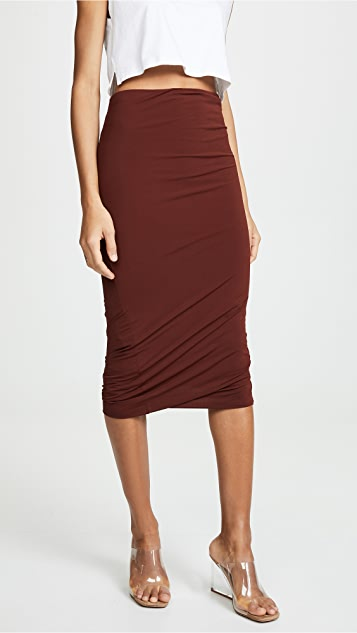 alexanderwang.t Crepe Jersey Twisted Skirt - Rust