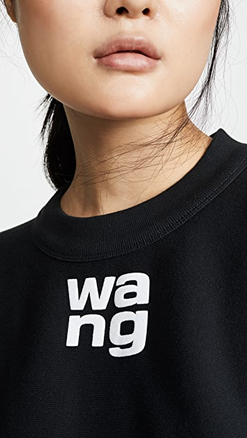alexanderwang.t Dense Fleece Crew Neck Sweatshirt with Puff Paint Print Detail