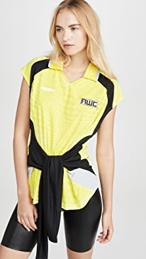 Neon Front Tie Top with Collar