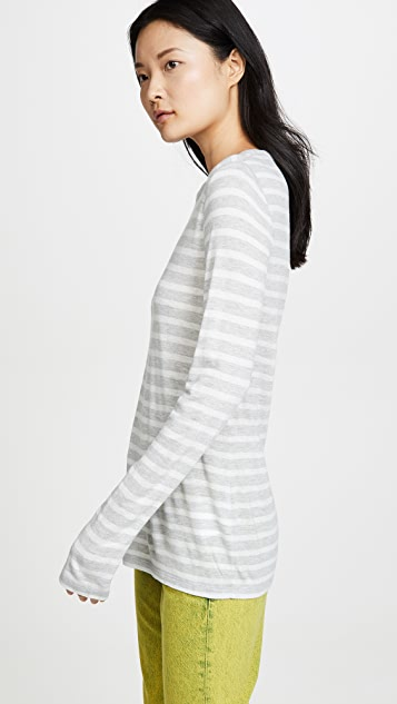 alexanderwang.t Striped Slub Long Sleeve Top