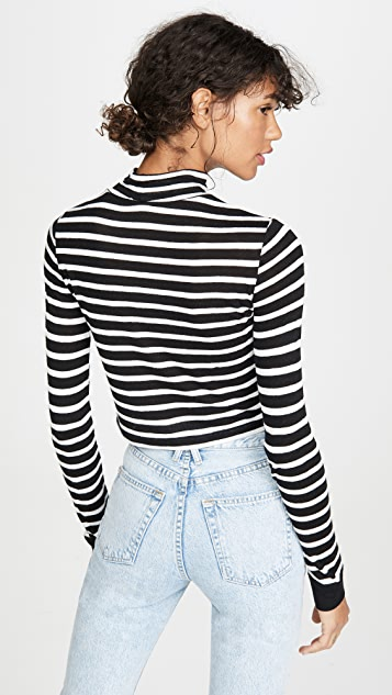 alexanderwang.t Striped Slub Crop Mock Neck Tee