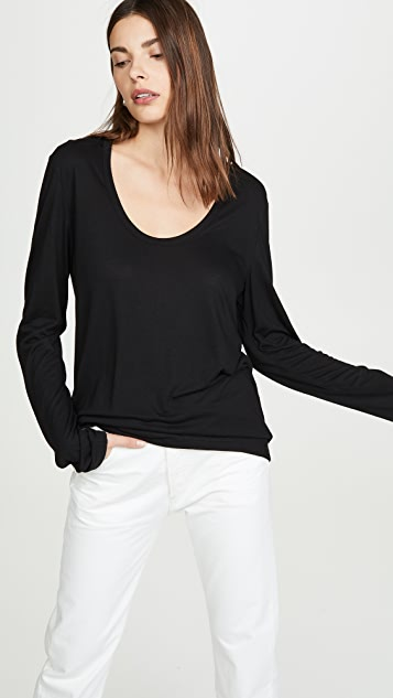alexanderwang.t Drapey Jersey Long Sleeve Tee with Darting Detail