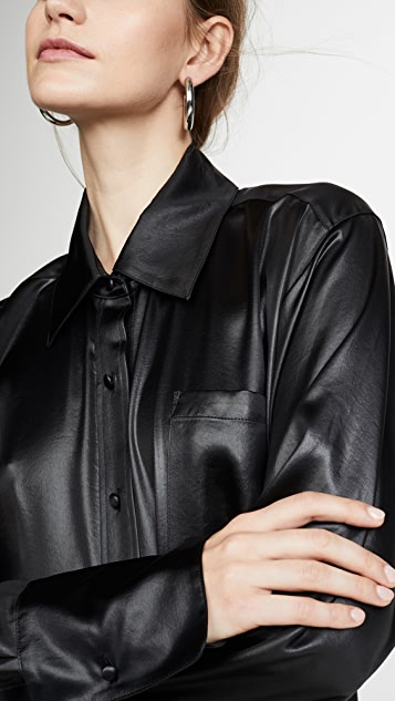 alexanderwang.t Wet Shine Oversized Button Down Shirt