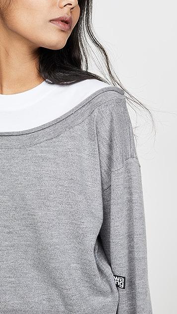 alexanderwang.t Peelaway Bi-Layer Cropped Pullover