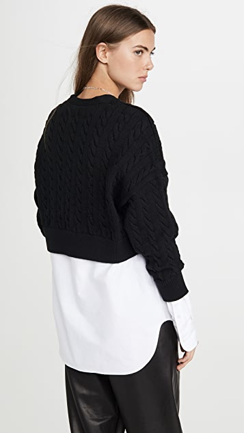 alexanderwang.t Cable Bi Layer Cardigan with Oxford Shirt