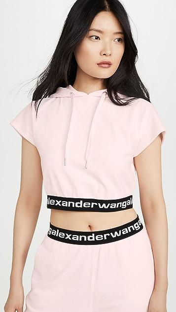 alexanderwang.t 弹性灯芯绒小肩袖连帽衫